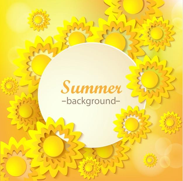 Carte De Voeux Floral Jaune Abstrait. Vecteur Premium