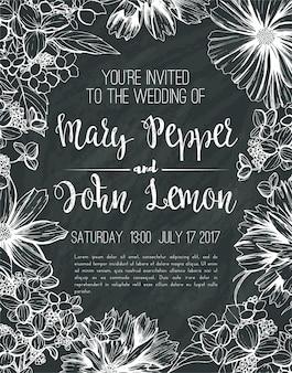 Carte de voeux floral de mariage, invitation