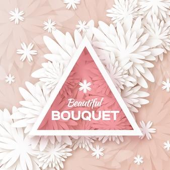 Carte de voeux floral origami blanc avec cadre triangle découpé en papier