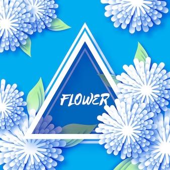 Carte de voeux floral origami bleu avec cadre triangle découpé en papier