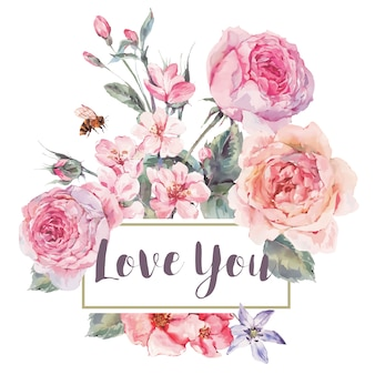 Carte de voeux floral vintage printemps avec bouquet de roses
