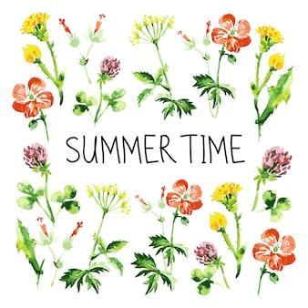 Carte de voeux florale aquarelle. fond rétro vintage avec des fleurs sauvages. fond de thème d'été