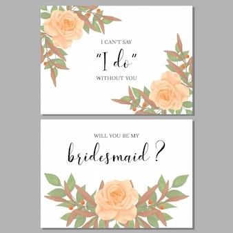 Carte de voeux florale demoiselle d'honneur avec bouquet de rose
