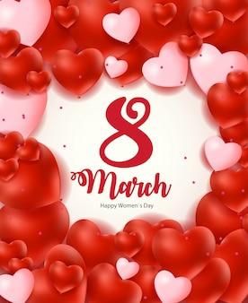 Carte de voeux florale de la journée internationale de la femme heureuse du 8 mars