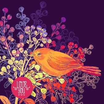 Carte de voeux florale avec des oiseaux et des branches