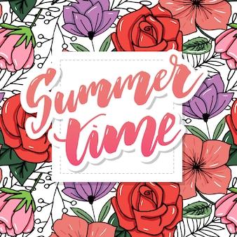 Carte de voeux florale vintage de l'heure d'été avec fleurs d'hortensia et de jardin en fleurs