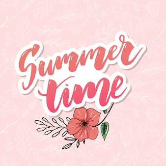 Carte de voeux florale vintage de l'heure d'été