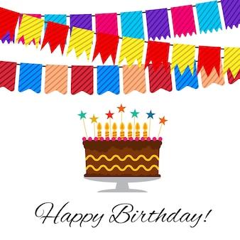 Carte de voeux avec gâteau sucré pour la célébration d'anniversaire. illustration vectorielle