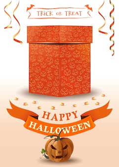 Carte de voeux halloween avec boîte-cadeau orange et jack o lantern. joyeux halloween. des bonbons ou un sort.