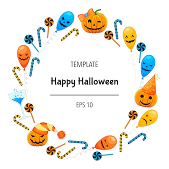 Carte de voeux halloween avec cadre d'attributs traditionnels. style de bande dessinée.
