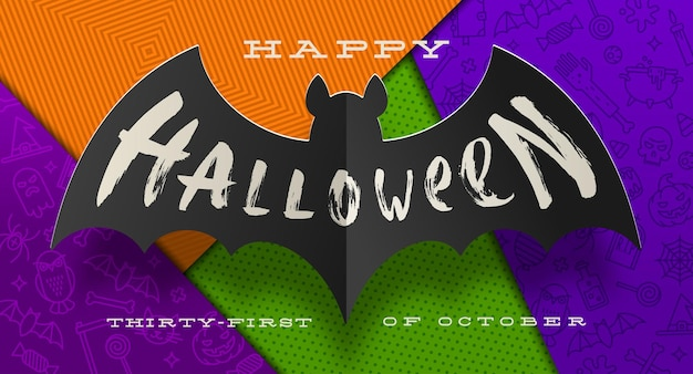 Carte de voeux halloween avec chauve-souris en papier