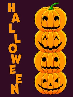 Carte de voeux d'halloween avec des citrouilles. style de bande dessinée. illustration vectorielle