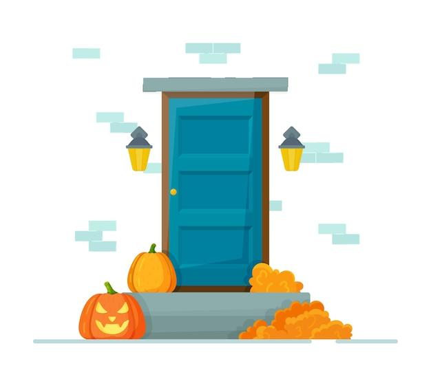 Carte de voeux d'halloween. illustration vectorielle du décor d'halloween. citrouilles effrayantes, bougies, toile d'araignée.