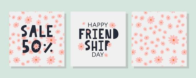 Carte de voeux happy friendship day et ensemble de bannières de vente