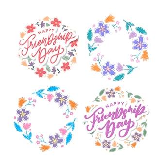 Carte de voeux happy friendship day et ensemble de couronnes florales