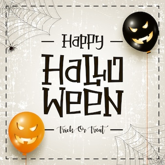 Carte de voeux happy halloween avec des ballons à air effrayants, toile d'araignée et calligraphie