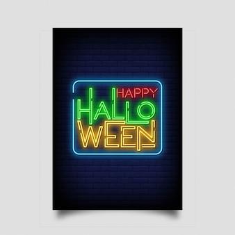 Carte de voeux happy halloween dans le style de néon.