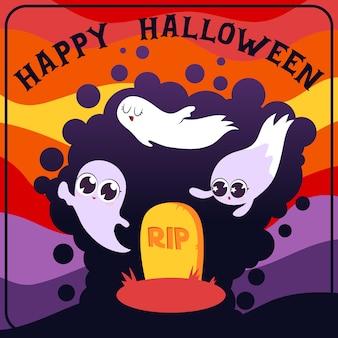 Carte de voeux happy halloween grave et fantômes mignons