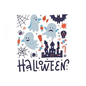 Carte de voeux happy halloween motif carré avec fantômes, araignée noire, château effrayant et toile d'araignée.