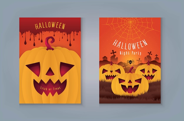 Carte de voeux happy halloween night party. citrouille avec du sang. citrouilles d'halloween avec toile d'araignée et araignée