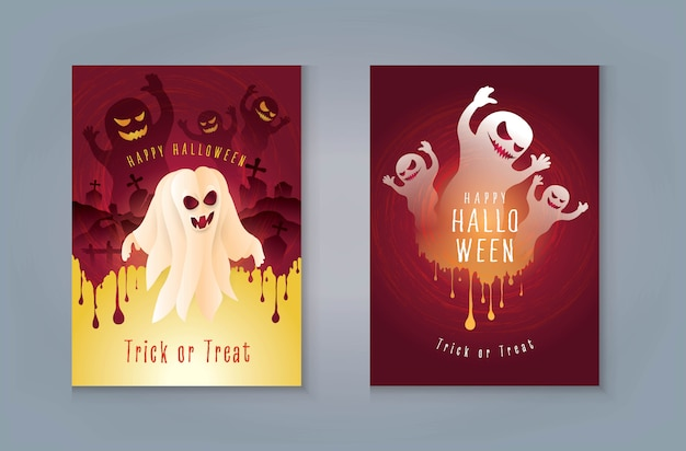 Carte de voeux happy halloween night party, fantôme avec cimetière et sang.