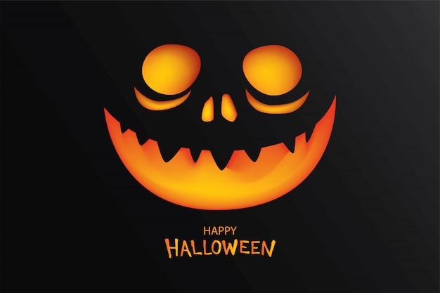 Carte de voeux happy halloween souriant visage citrouille