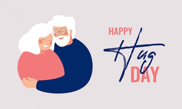 Carte de voeux happy hug day avec des personnes âgées s'embrassant.