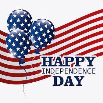 Carte de voeux happy independence day, 4 juillet, conception usa