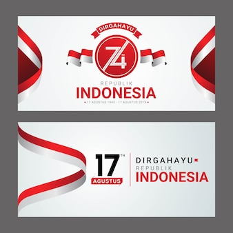 Carte de voeux happy indonesia independence day