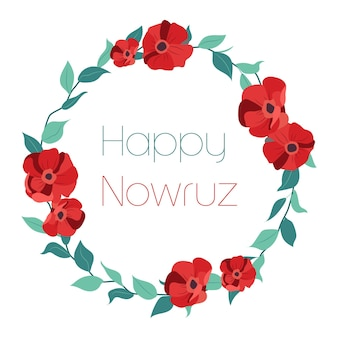 Carte de voeux happy nowruz avec fleurs rouges et feuilles