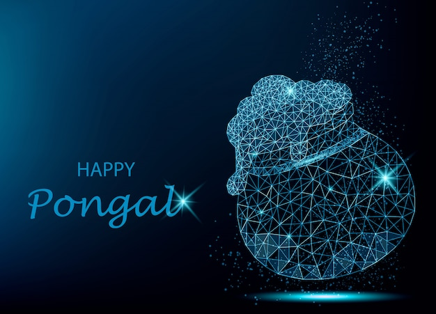 Carte de voeux happy pongal avec pot polygonale