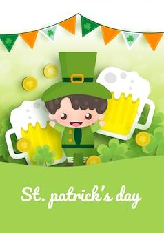 Carte de voeux happy saint patrick's day avec vert et or quatre et feuille d'arbre.
