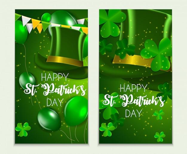 Carte de voeux happy saint patricks day avec clover leaves