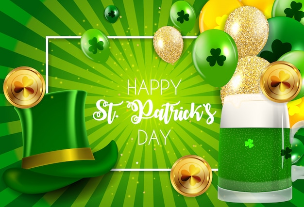 Carte de voeux happy saint patricks day avec clover leaves
