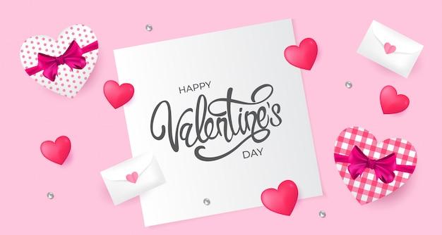 Carte de voeux happy valentine day avec amour et cadeau