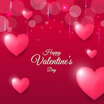 Carte de voeux happy valentine day avec fond bokeh