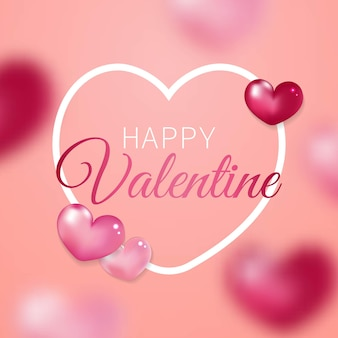 Carte de voeux happy valentine décorée de coeurs réalistes