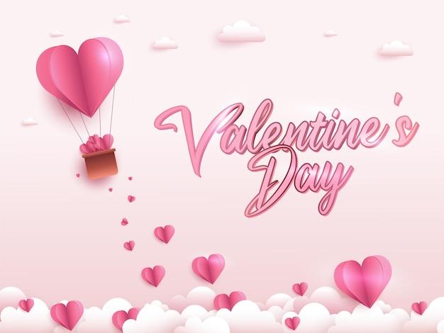 Carte de voeux happy valentine's day. bannière de vacances avec ballon coeur à air chaud.