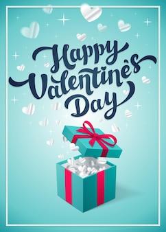 Carte de voeux happy valentine s day avec boîte-cadeau rouge