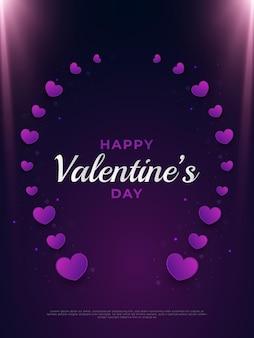 Carte de voeux happy valentine's day avec coeurs circulaires et lumière rougeoyante