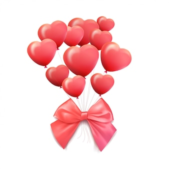 Carte de voeux happy valentines day. ballon 3d rouge et rose en forme de coeur. illustration
