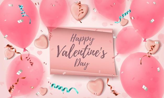 Carte de voeux happy valentines day avec des coeurs de bonbons, des ballons, des confettis et des rubans