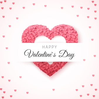 Carte de voeux happy valentines day. modèle de carte de voeux. cadre en forme de coeur rempli de coeurs avec place pour l'inscription. illustration