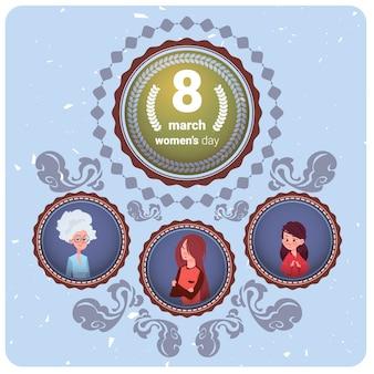 Carte de voeux happy women day avec la mère, la fille et la grand-mère le 8 mars concept de vacances