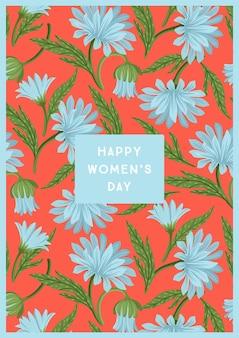 Carte de voeux happy women's day avec de belles fleurs