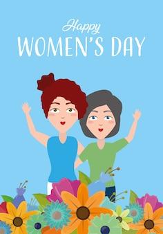 Carte de voeux happy womens day, deux femmes avec des fleurs sur fond bleu