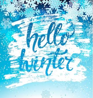 Carte de voeux hello winter avec des flocons de neige
