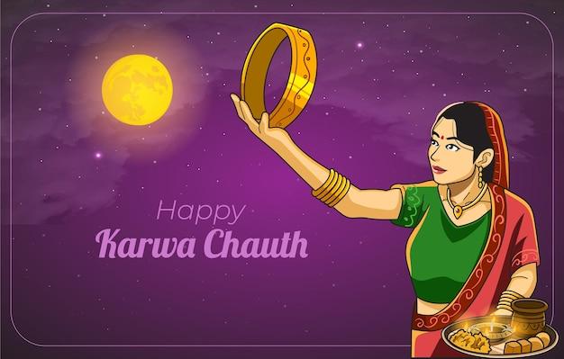 Carte De Voeux Heureuse De Bannière De Célébration De Karwa Chauth Avec La Femme Indienne Vecteur Premium