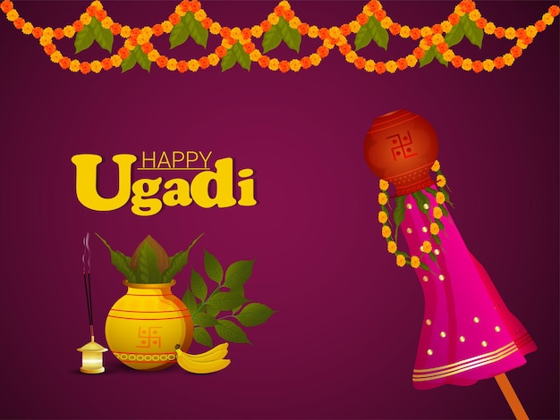Carte de voeux heureuse de célébration d'ugadi