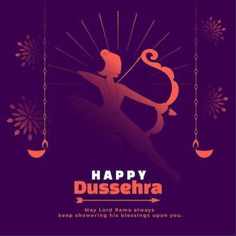 Carte de voeux heureuse de dussehra avec seigneur rama avec diya